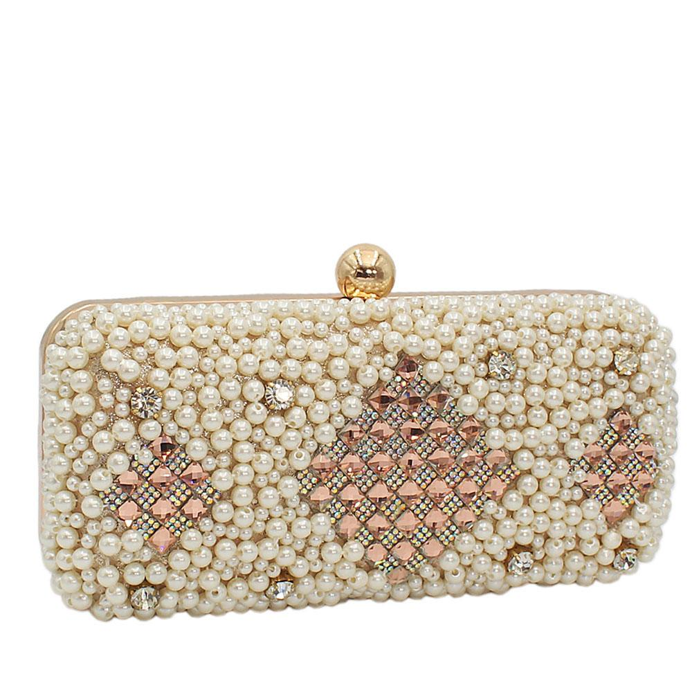 Gold Shimmering Pearl Ice Clutch Purse