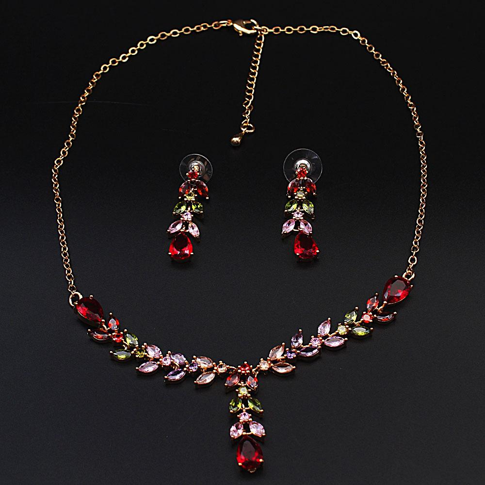 Natalia Sterling Gold Multicolored Ice Stones Necklace and Earrings Set