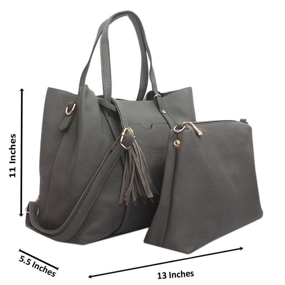 Grey Jessica Leather Handbag