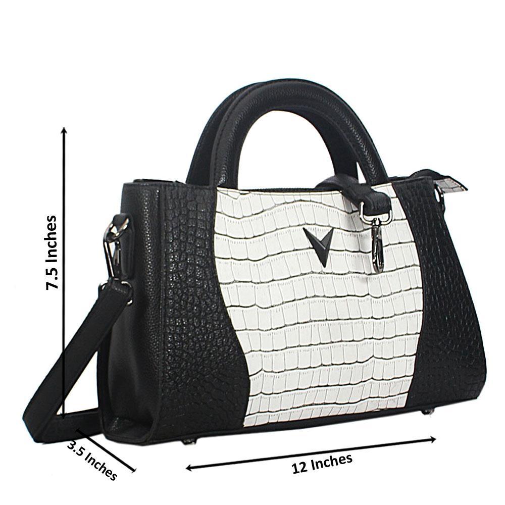 Black White Mix Lily Croc Leather Small Tote Handbag