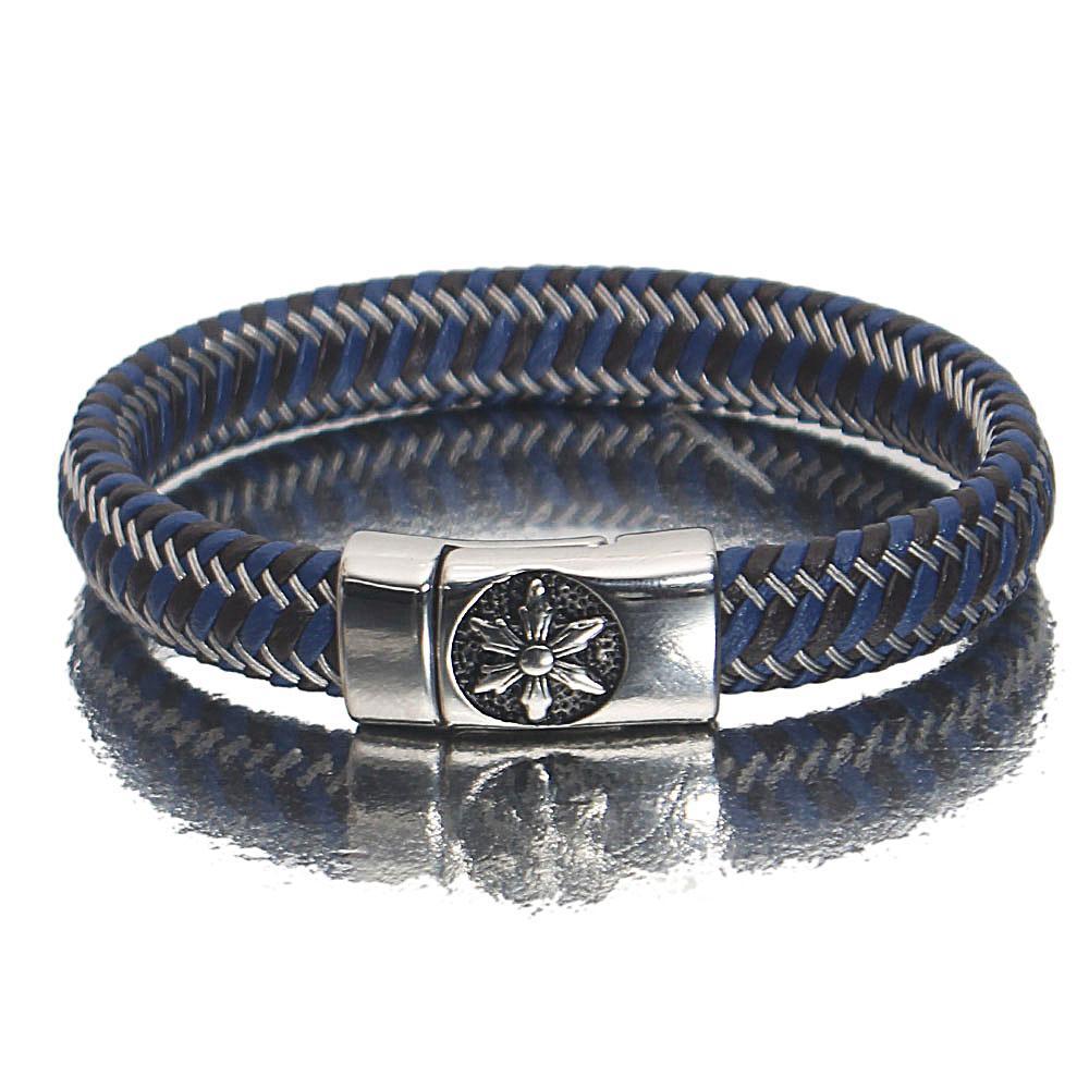 Silver Floral  Patterned Leather Bracelet