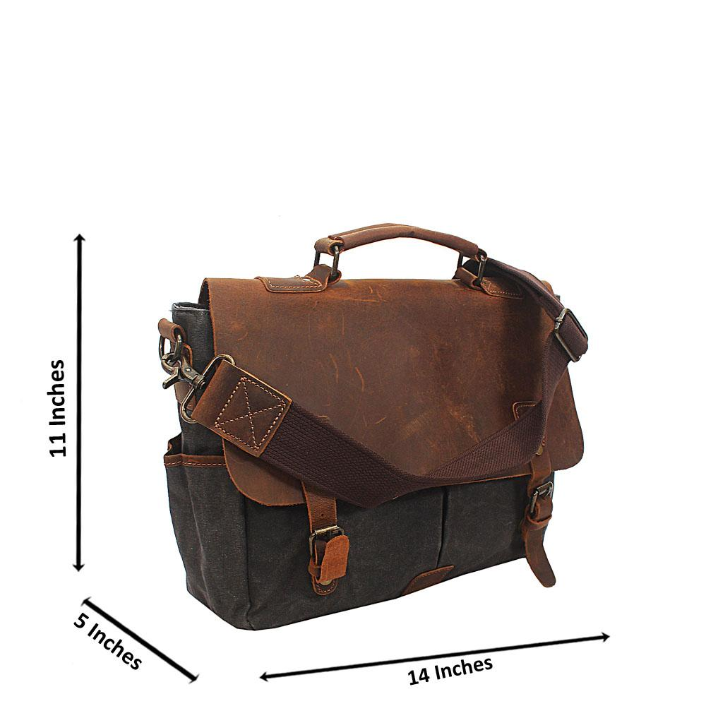 Gray Water Proof Khaki Messenger Bag