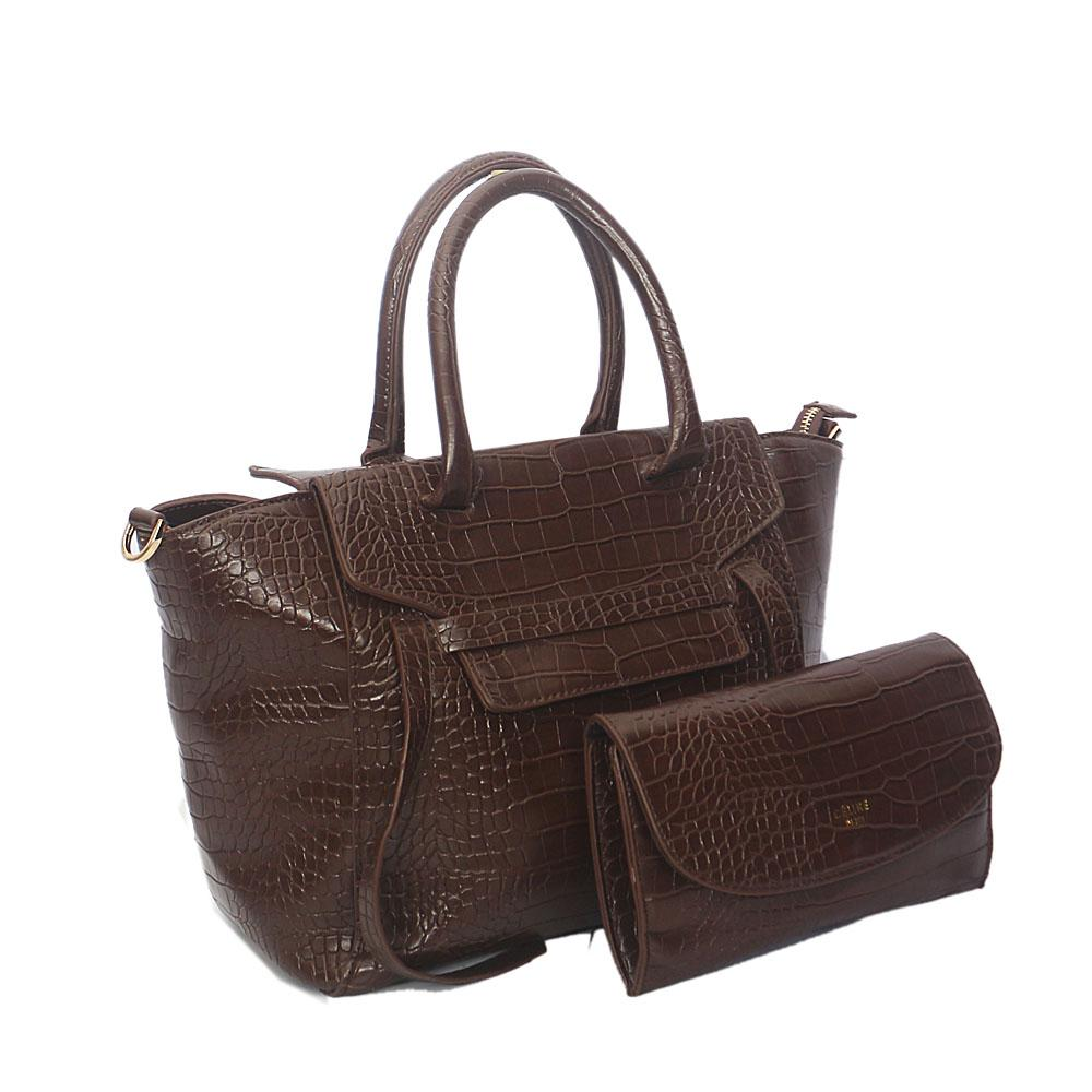 Coffee Rossie Croc Leather Tote Handbag