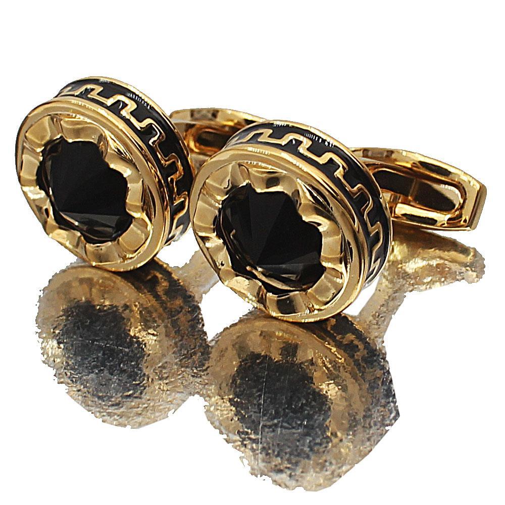 Gold Black Ceramic Stainless Steel Cufflinks