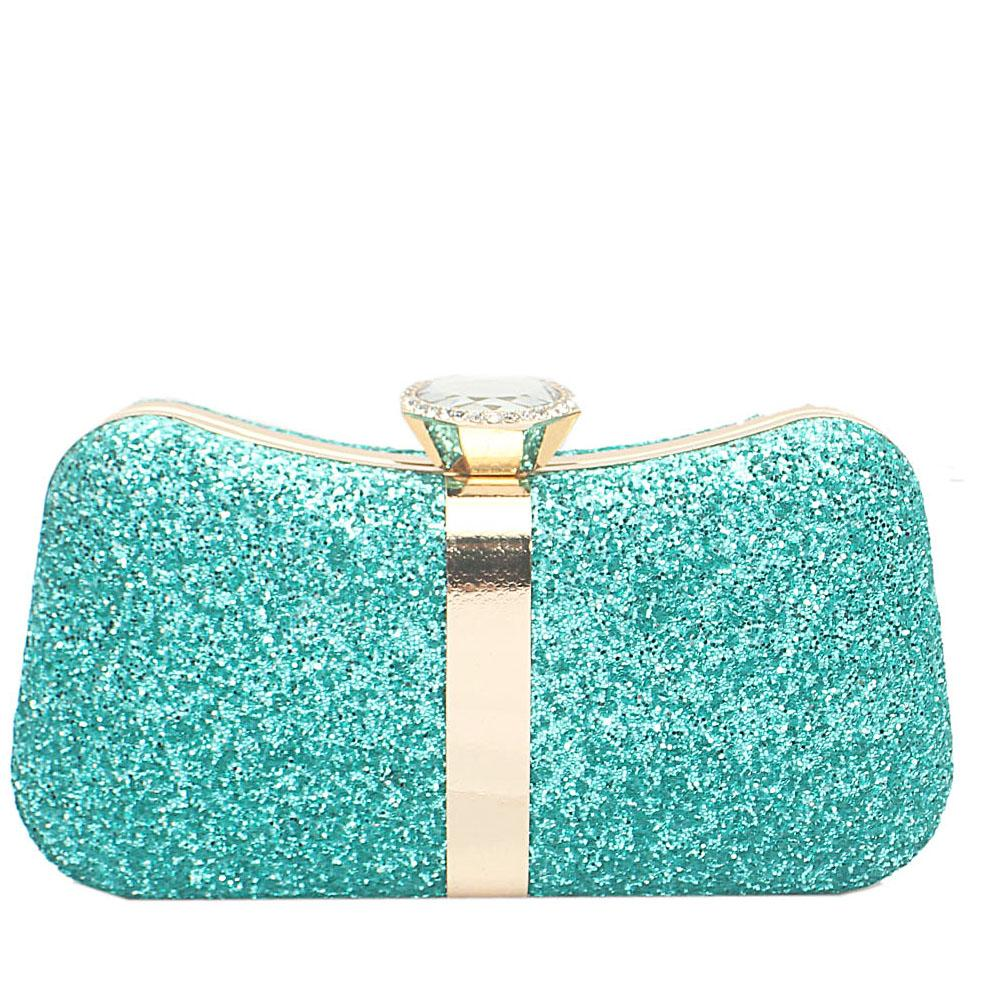 Green Glitz Studded Hard Clutch Purse