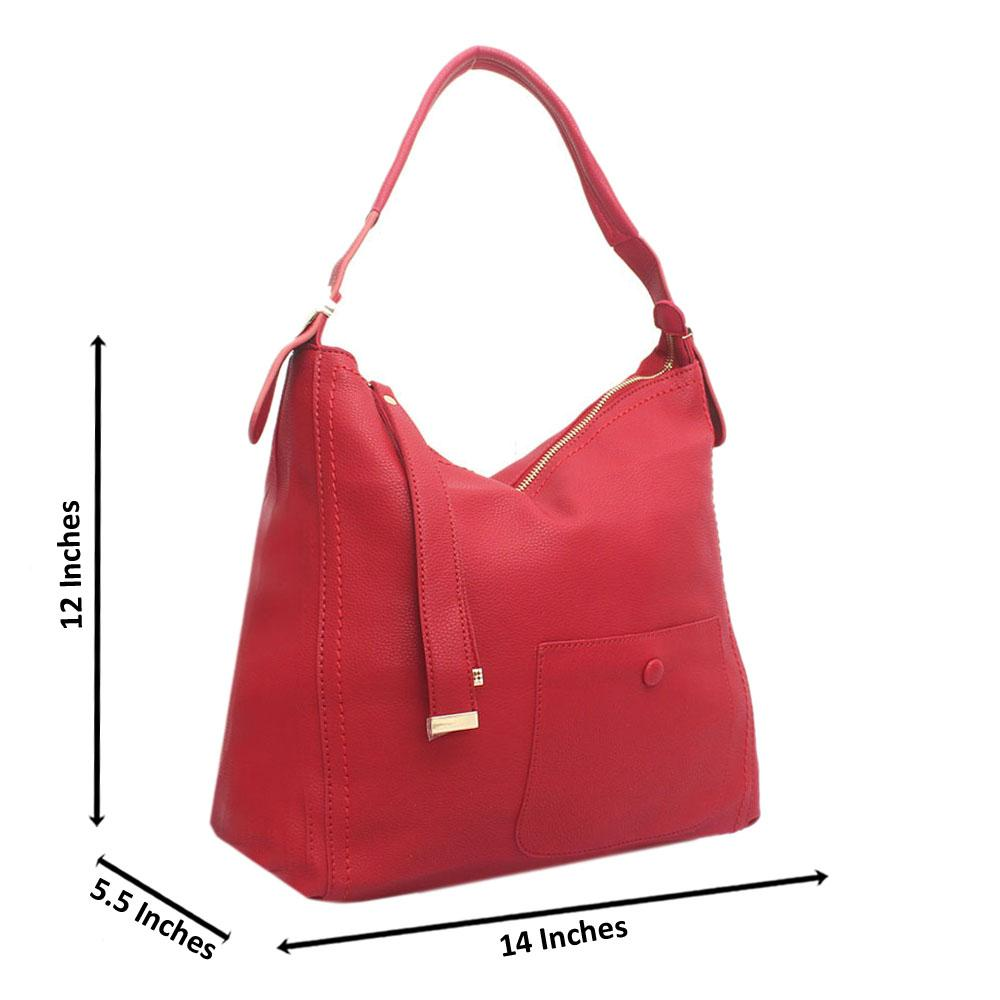 Red Blossom Leather Handbag