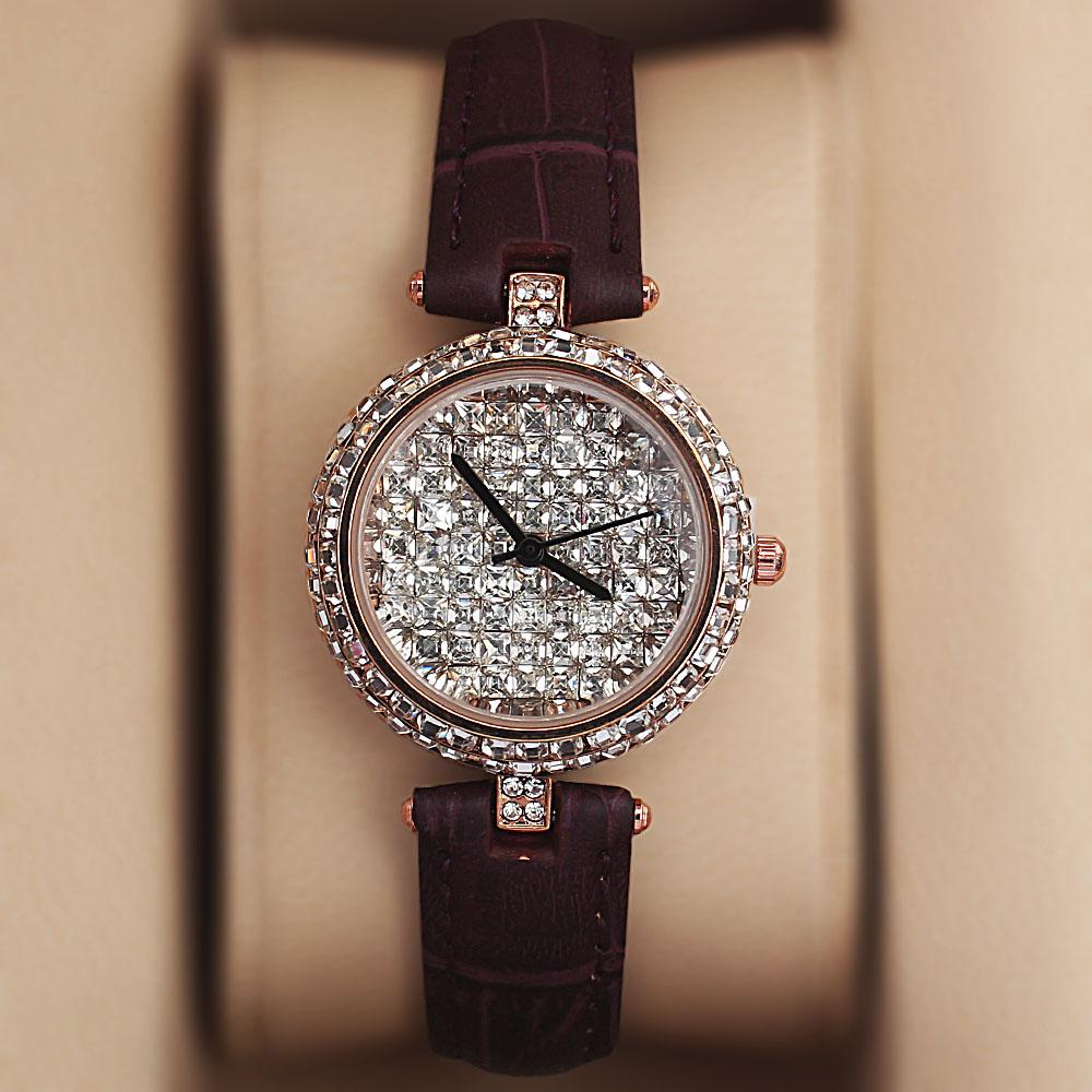 Gold Purple Crystal Ice Studded Leather Ladies Watch