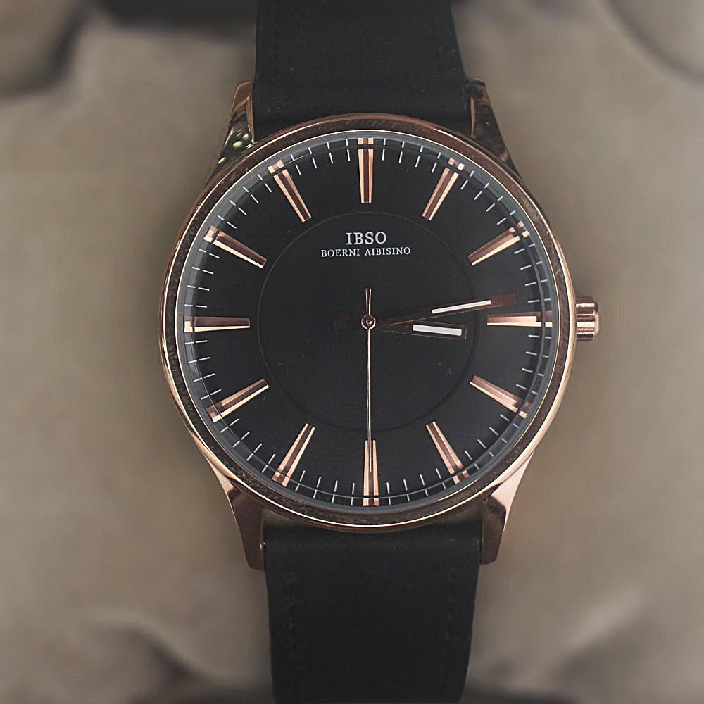 Classic Black Leather Flat Watch