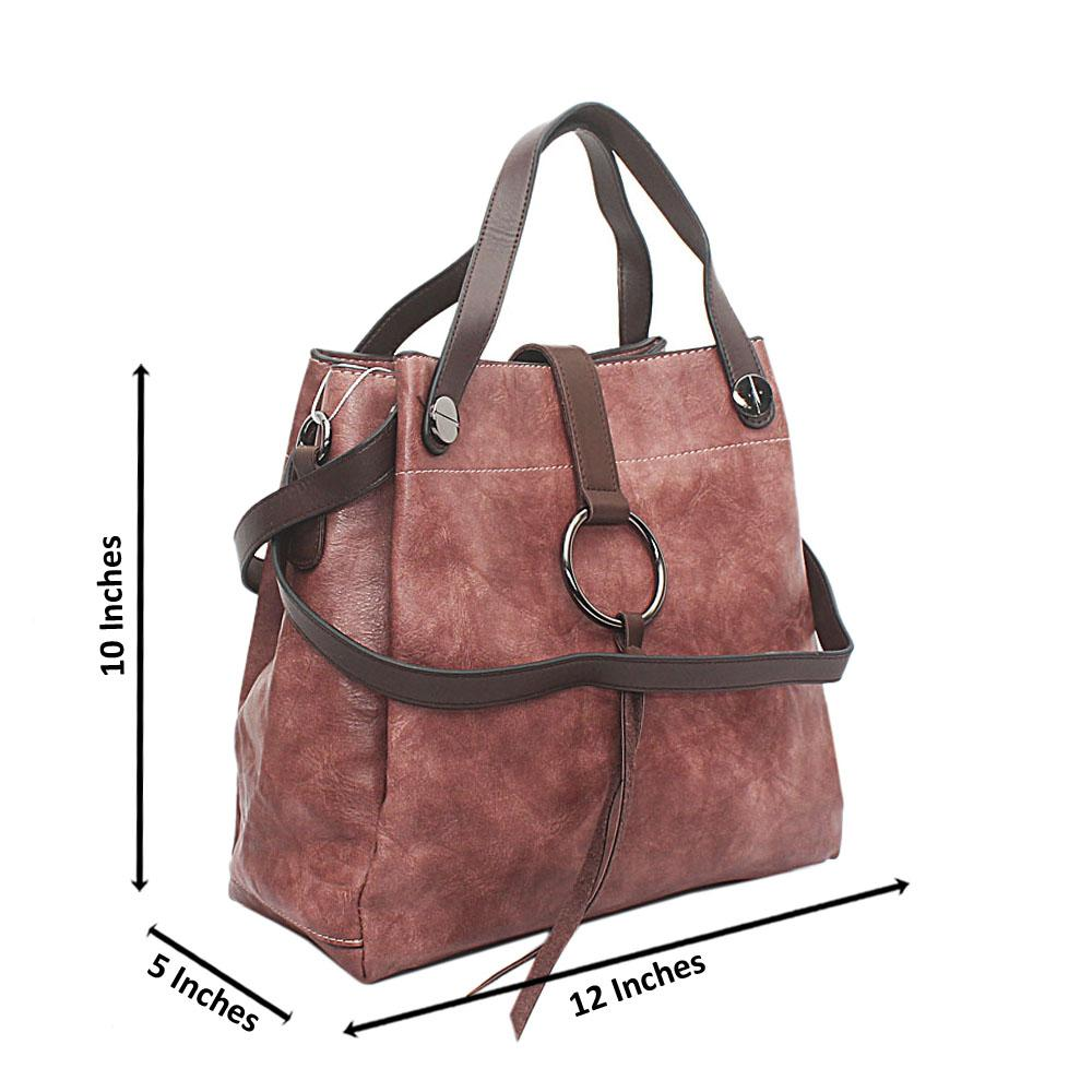 Burnt Pink Brown Leather Shoulder Bag