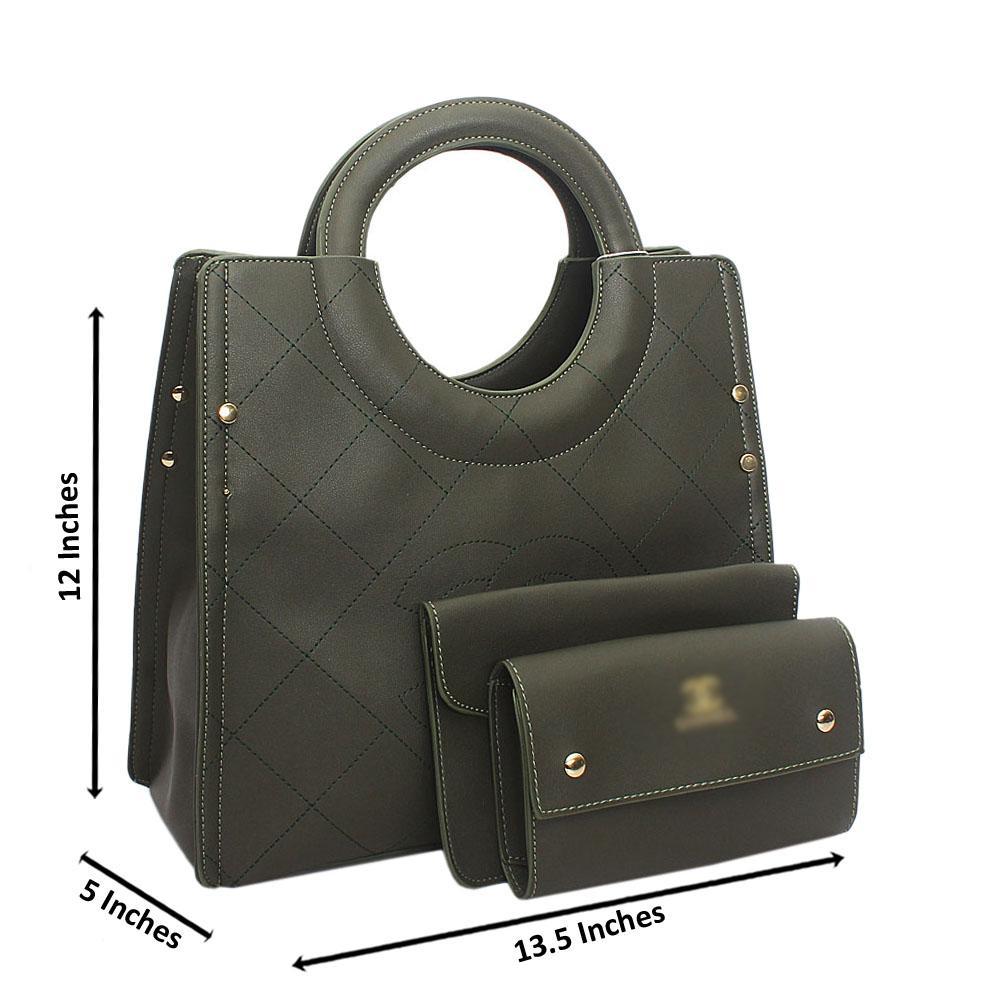 Army Green Leather  Handbag Wt Minor Default