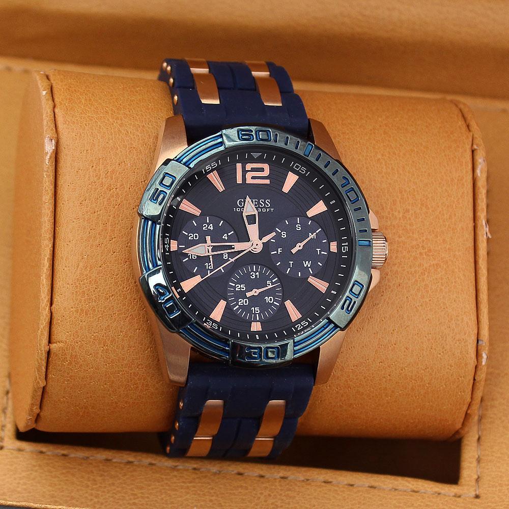 Blue Gold Rubber Men Chronograph Watch