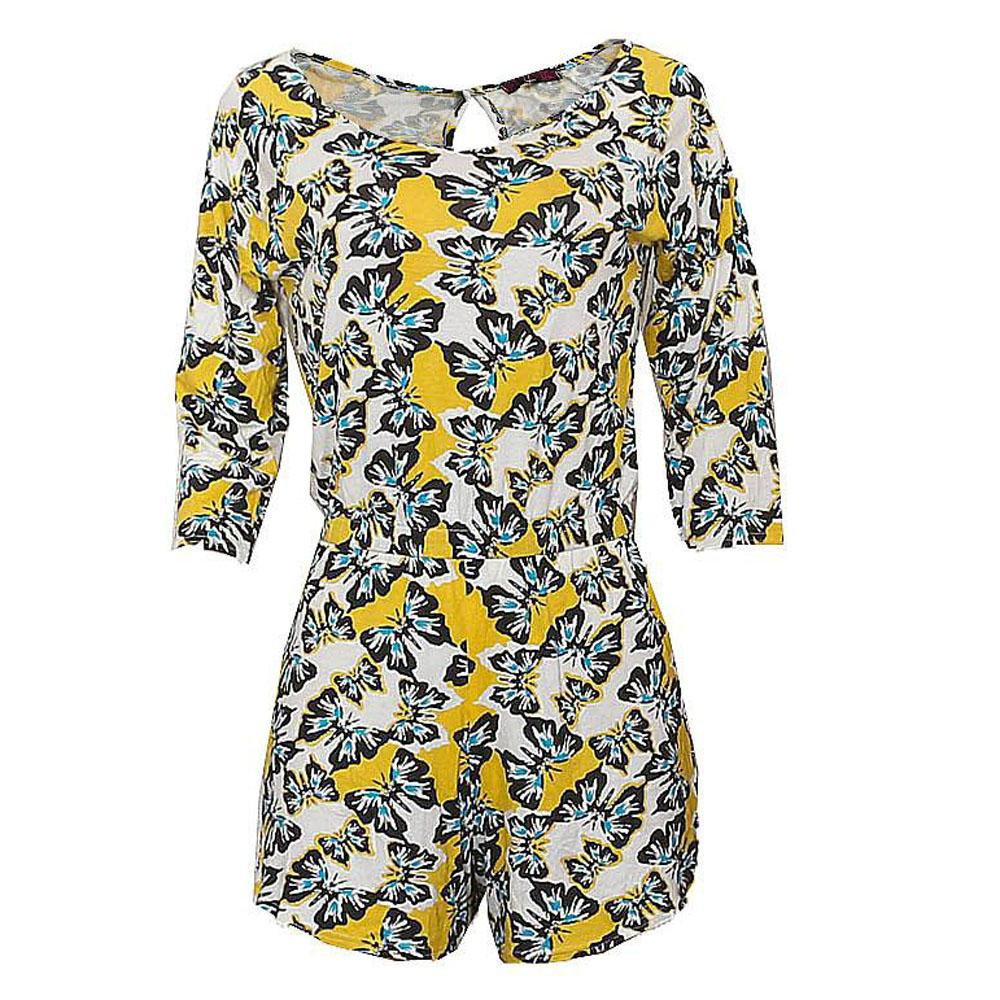 Missi Yellow White Blue Cotton Ladies Playsuit