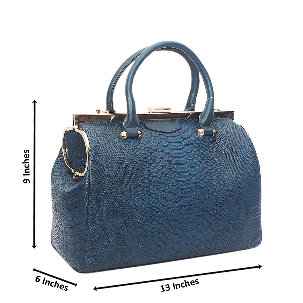 Blue Precious Angel Tandy Leather Tote Bag