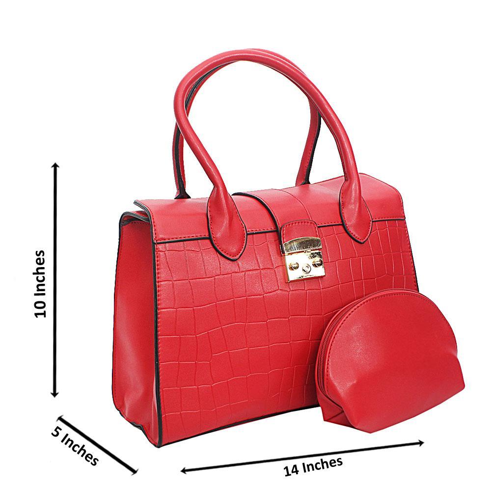 Red Lotti Smooth Croc Leather Tote Handbag