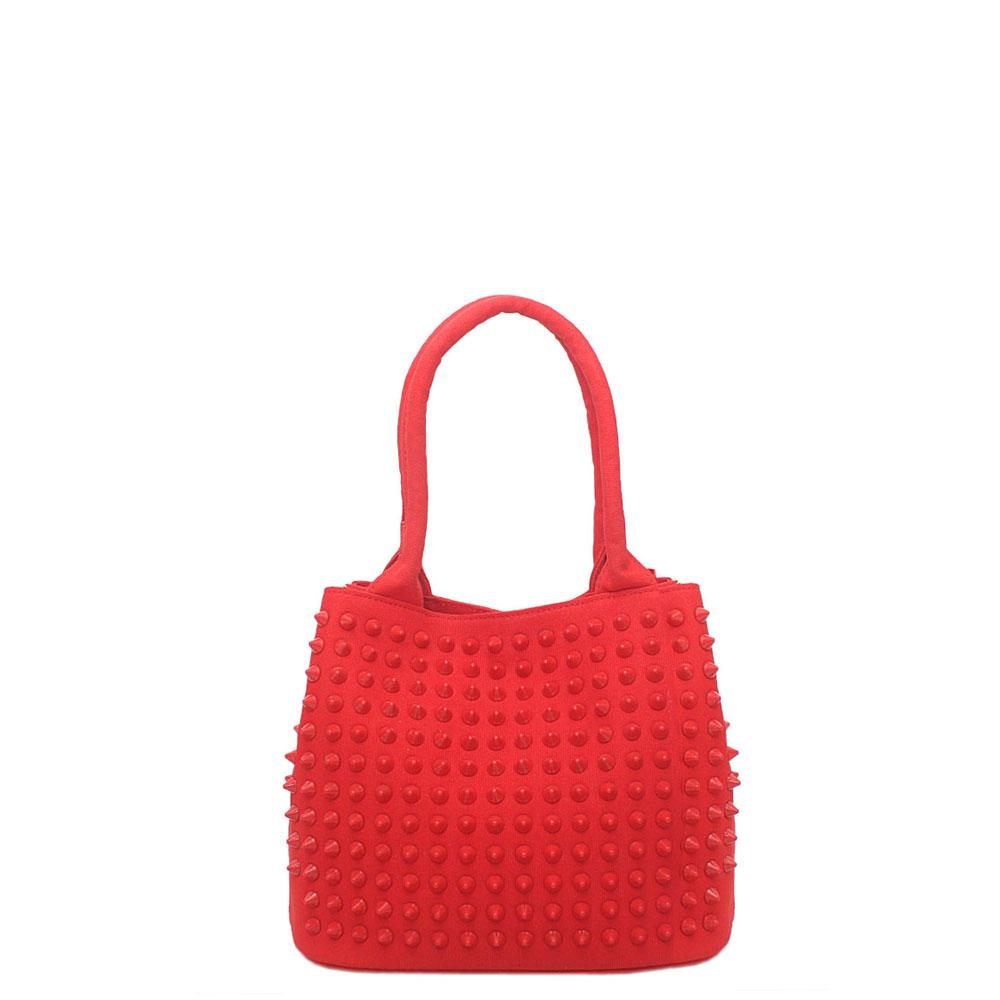 Diavel Prima D Red Fabric Studded Small Tote Bag