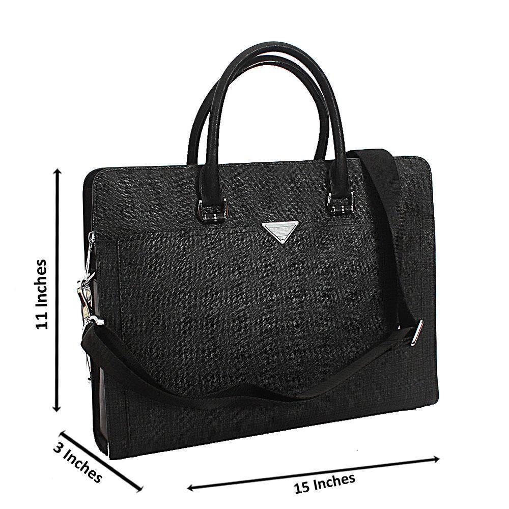 Black Tweed Cowhide Leather   Briefcase wt Back Zip