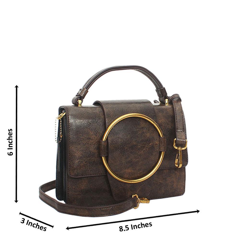 Coffe Nicolette Leather Mini Top Handle Handbag