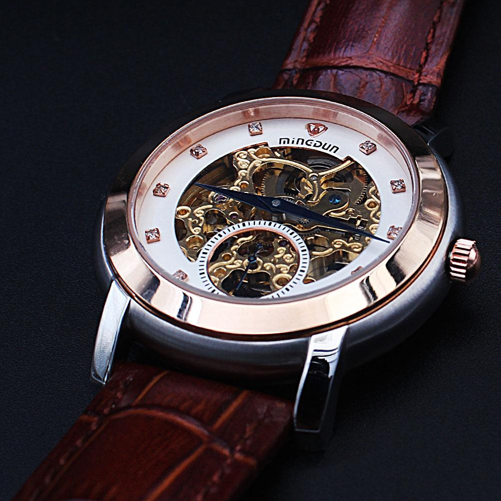 Shanghai Marcello Twin Tone Brown Leather Automatic Skeletal Watch