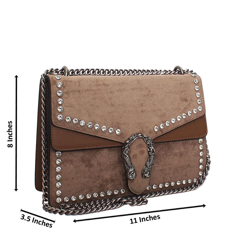 Brown Ice Suede Leather Crossbody Handbag