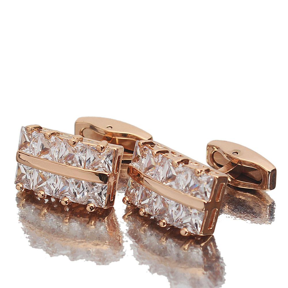 Rose Gold Diamond Ice Stainless Steel Cufflinks