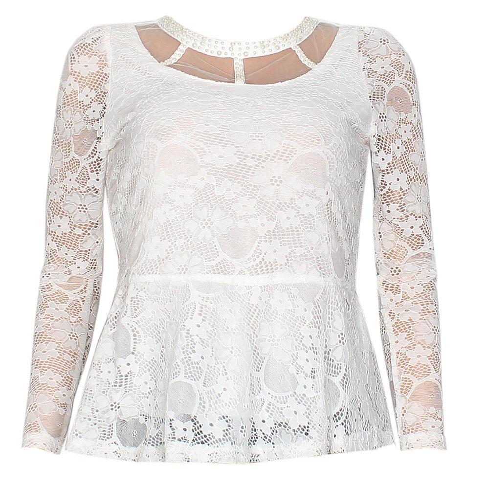 White L/Sleeve Netty Ladies Top