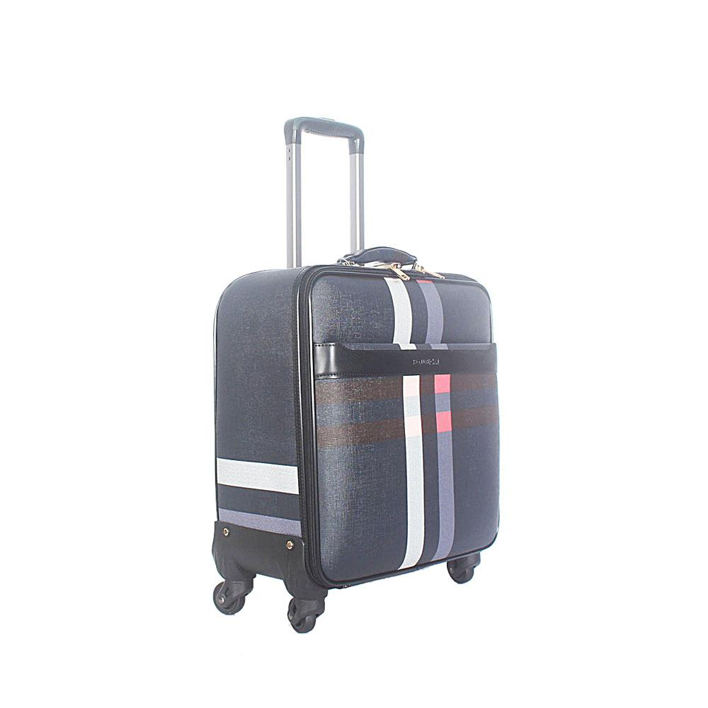 Black White 16 Inch Leather Pilot Suitcase Wt Lock