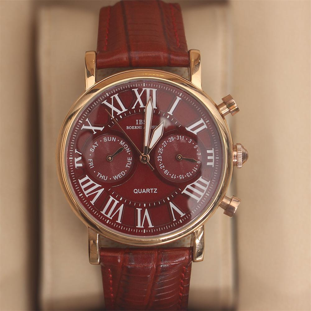 Martinez Red Leather Classic Ladies Watch