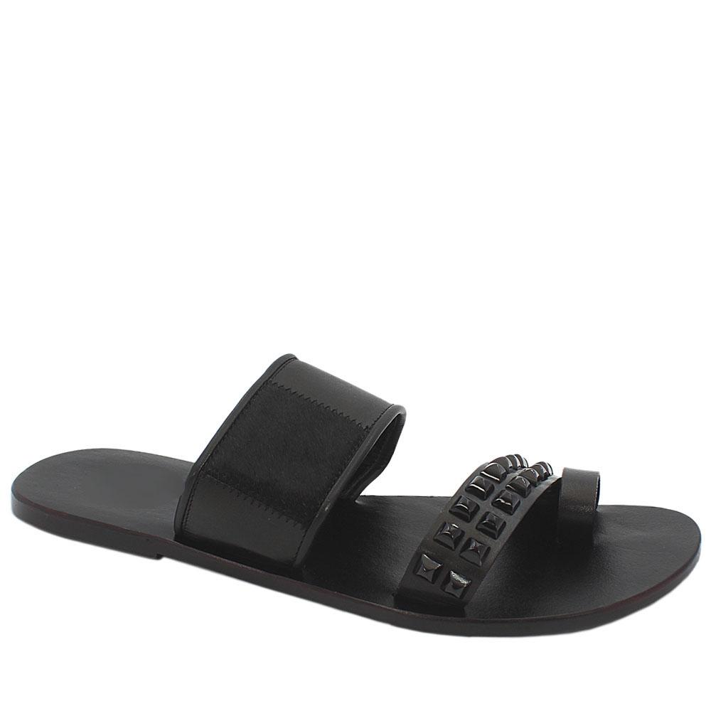 Black Studded Mixed Animal Italian Leather Men Slippers
