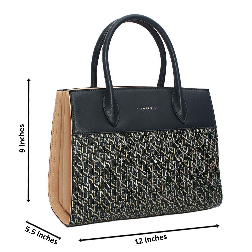 Susen Peach Navy Belinda Leather Tote Handbag