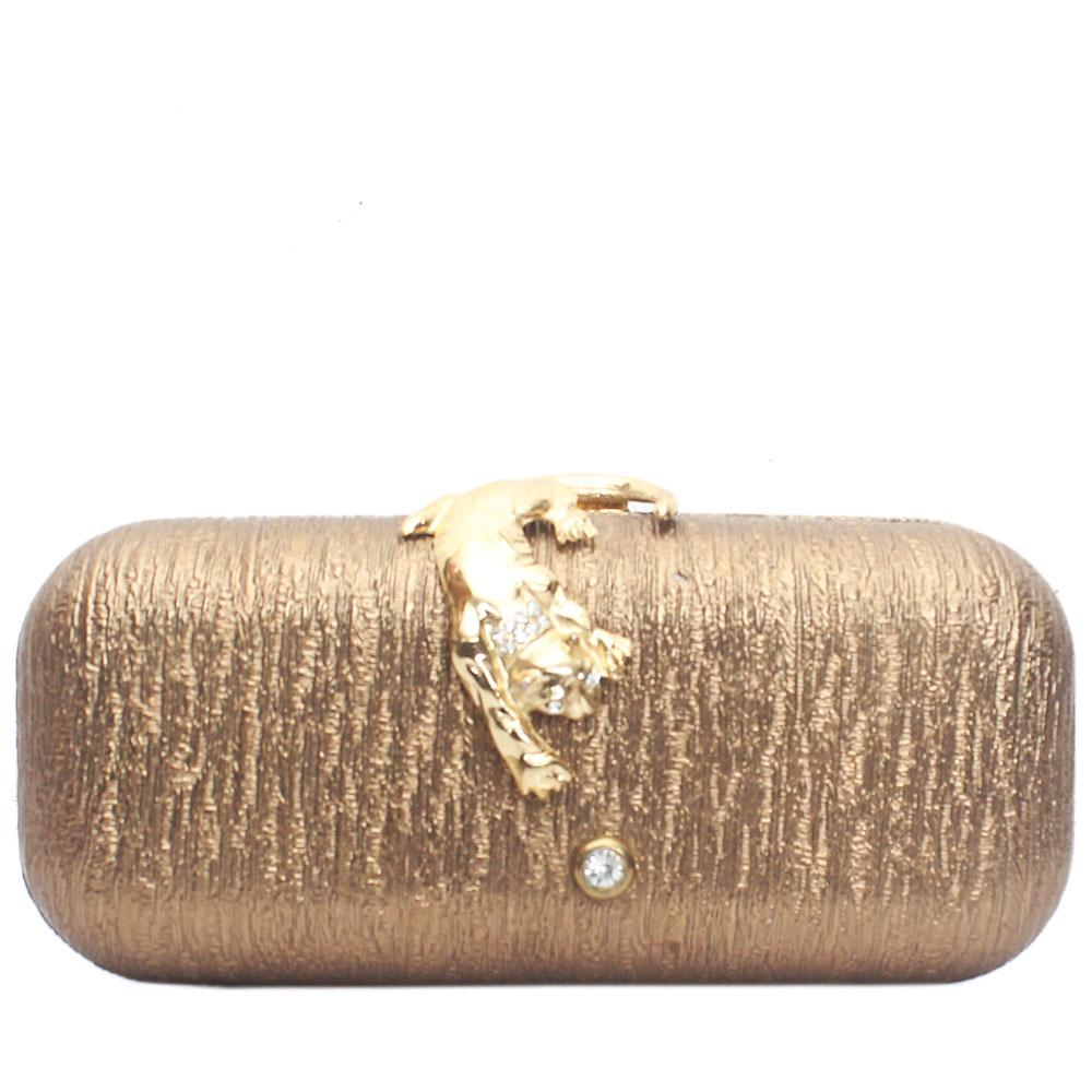 Metallic Gold Leather Hard Clutch Purse