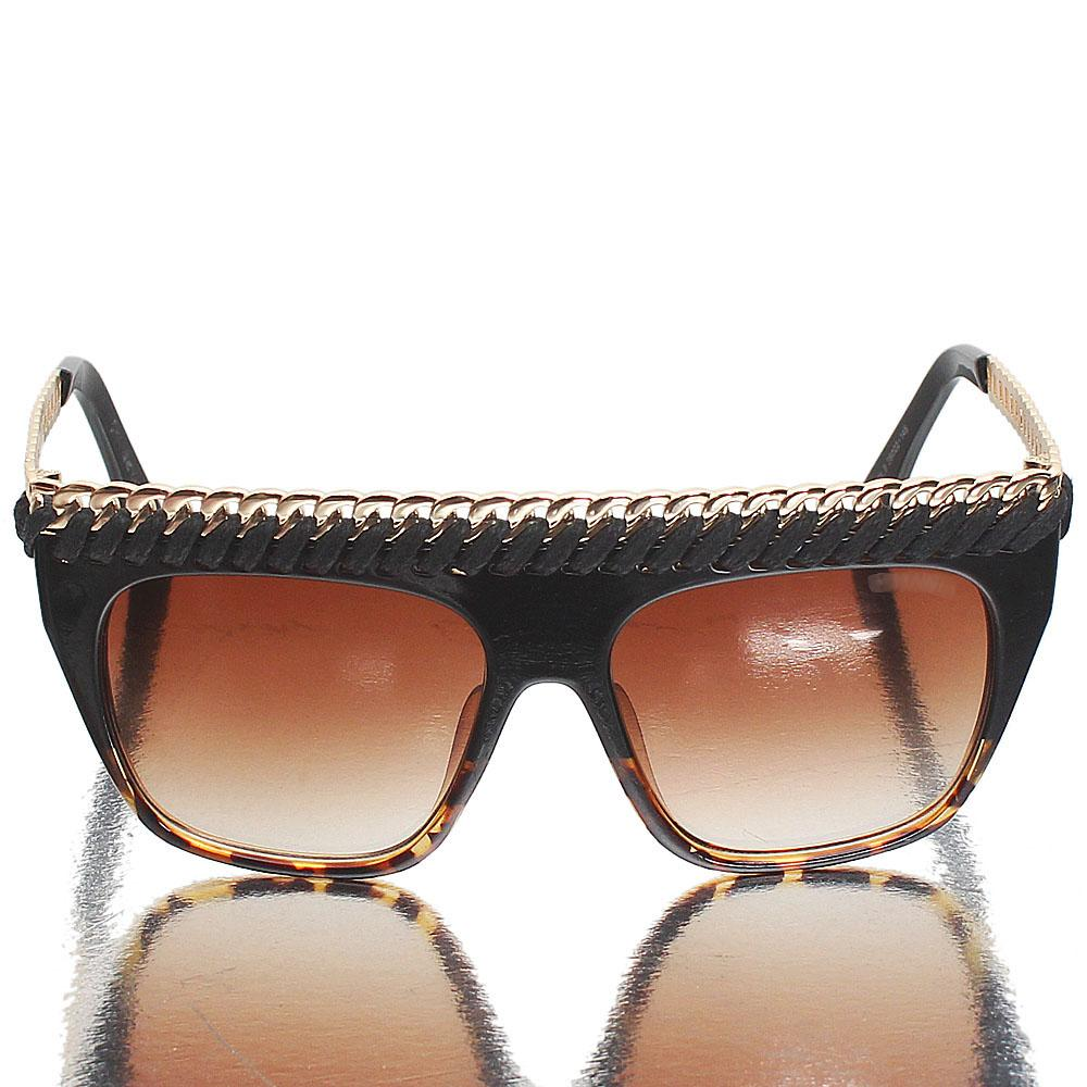 Gold Black Shield Brown Lens Sunglasses