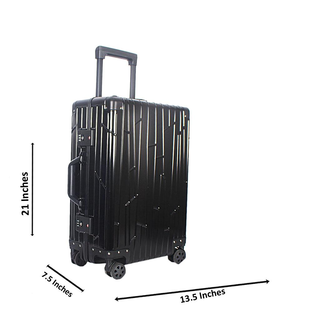 Black 20 Inch Aluminium Carry On Luggage Wt TSA Lock