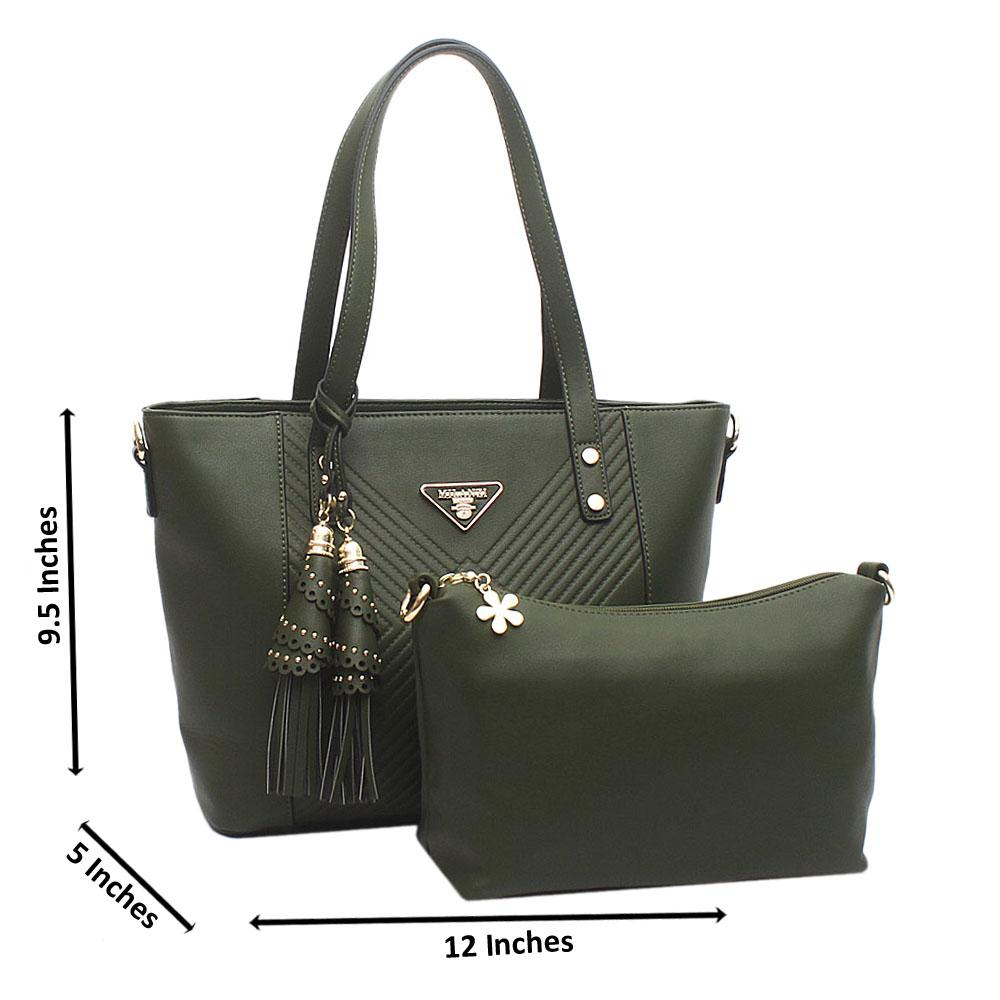 Green Medium Milanzi Leather Handbag