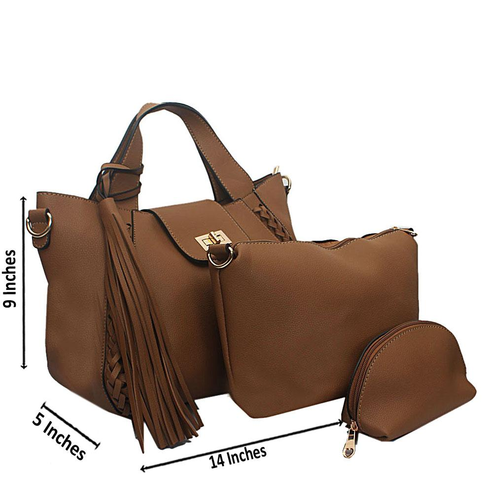 Khaki Wooven Edge Leather Handbag