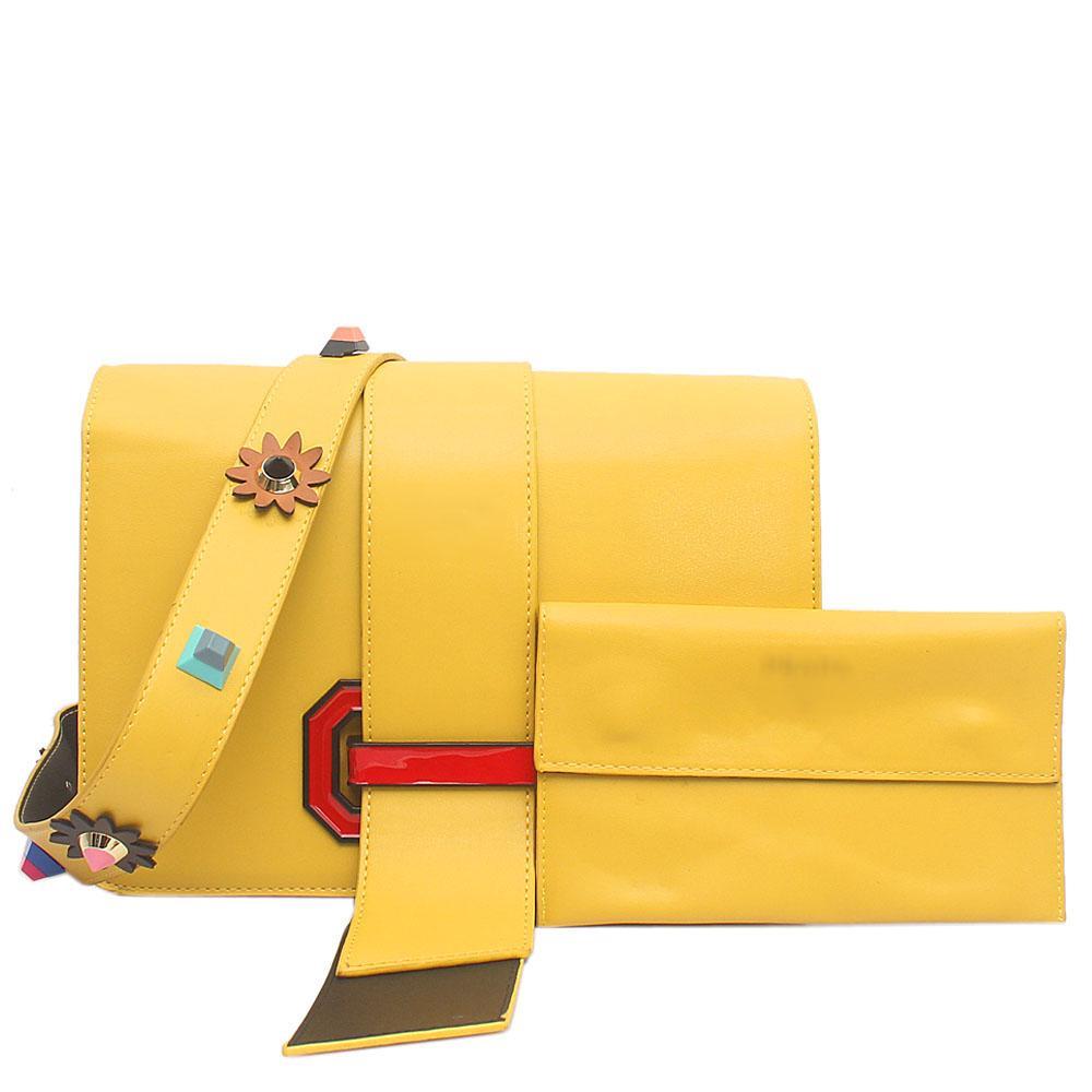 Beauty Yellow Leather Mini Handbag