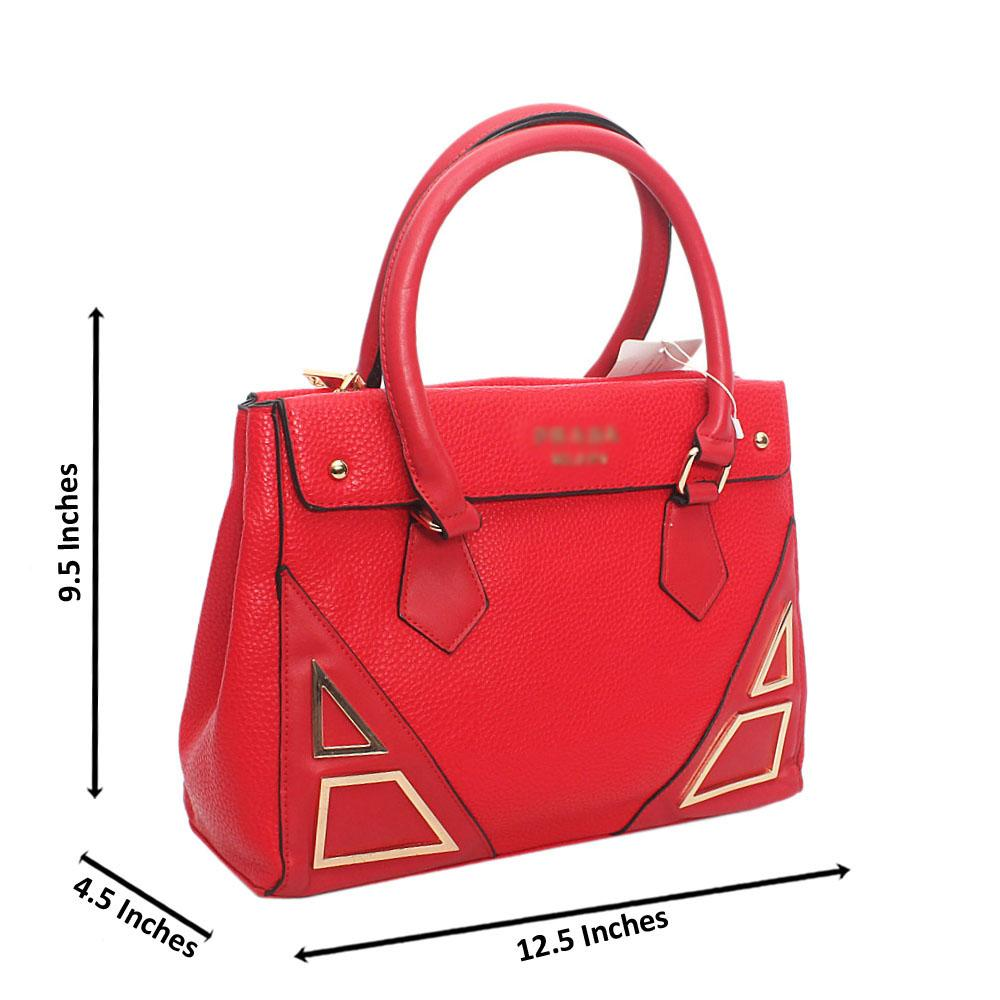 Red Leather Tote Handbag Wt Minor Peeling