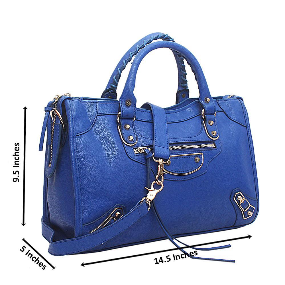 Blue Premium Leather Tote Handbag
