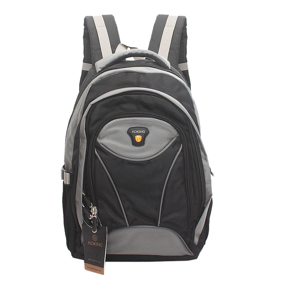 Aoking Grey Black Fabric Laptop Backpack