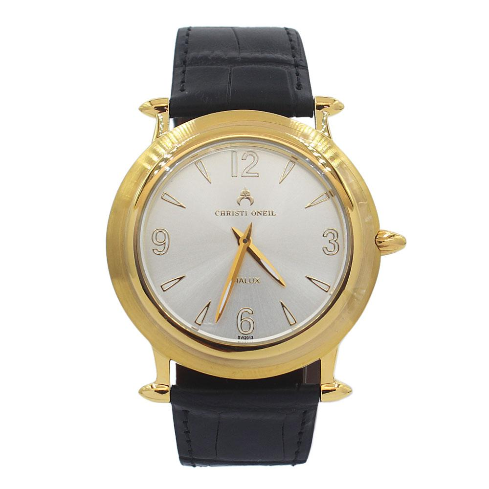 Black-Gold-White-Santiago-Leather-Flat-Watch