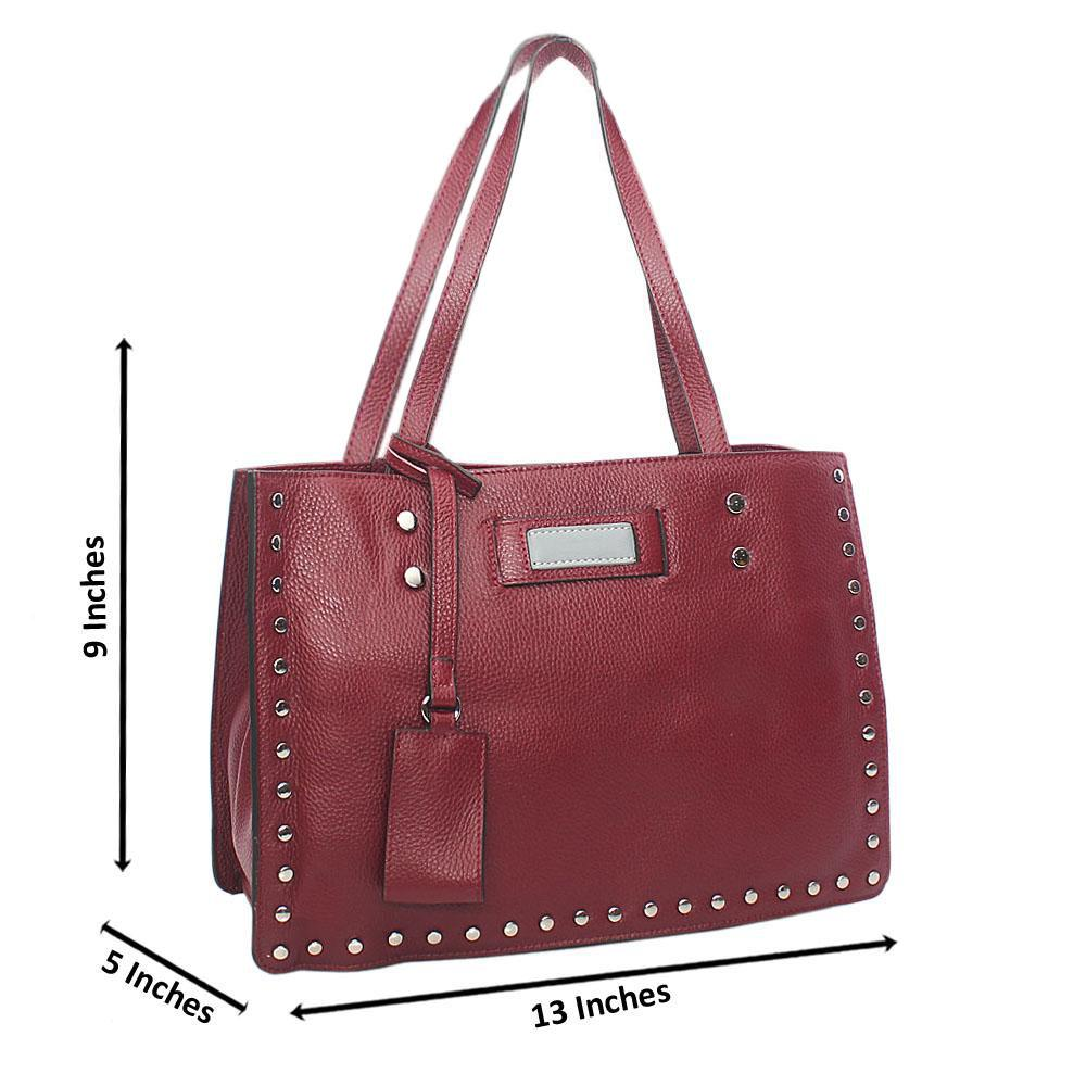 Rose Purple Studded Tuscany Leather Shoulder Handbag