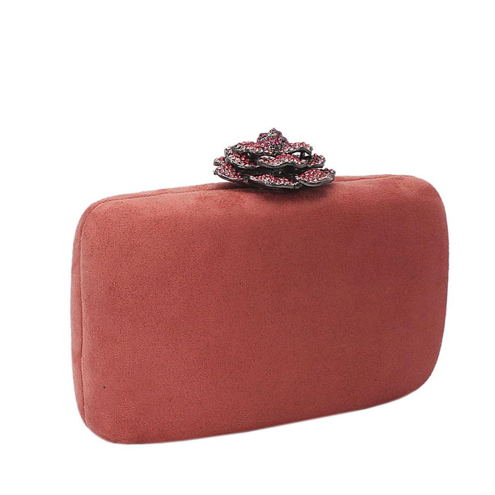 Pink Suede Rose Studded Clutch Purse