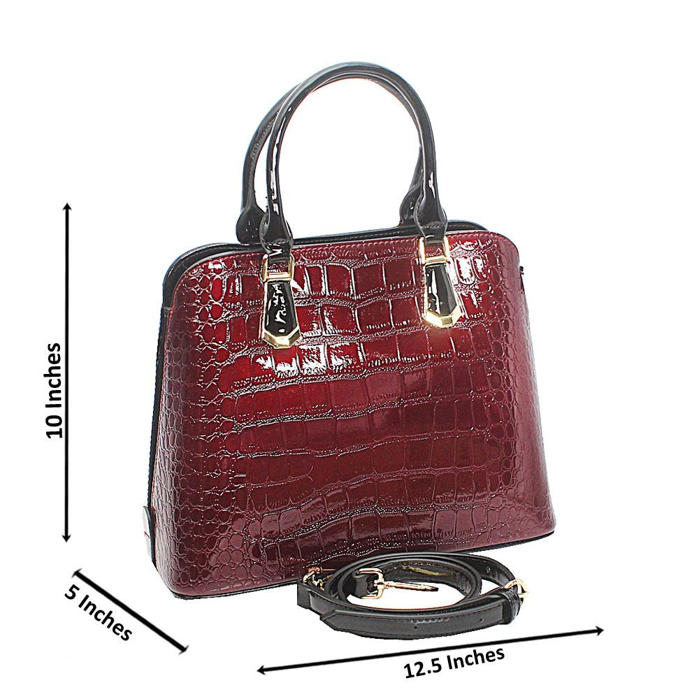 Baizili Patent Brown Croc Style Italian Leather Handbag