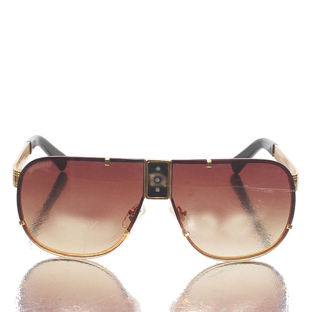 Gold Brown Shield Brown Lens Sunglasses