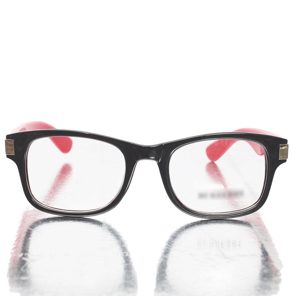 Black Red Wayfarer Transparent Lens Glasses