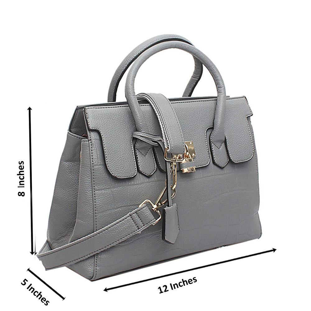 Gray Temii Patterned Medium Leather Handbag