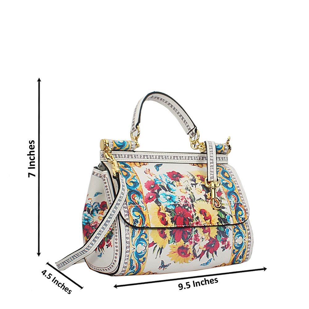 Cream Vintage Multicolor Cow Leather Small Top Handle Handbag