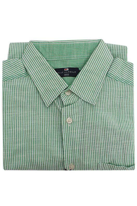 Blue Harbour Green Striped Cotton S/Sleeve Men Shirt
