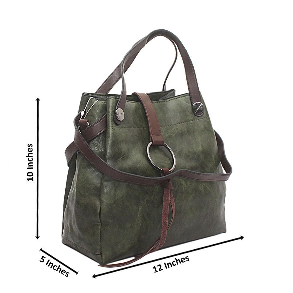 Green Brown Leather Shoulder Bag
