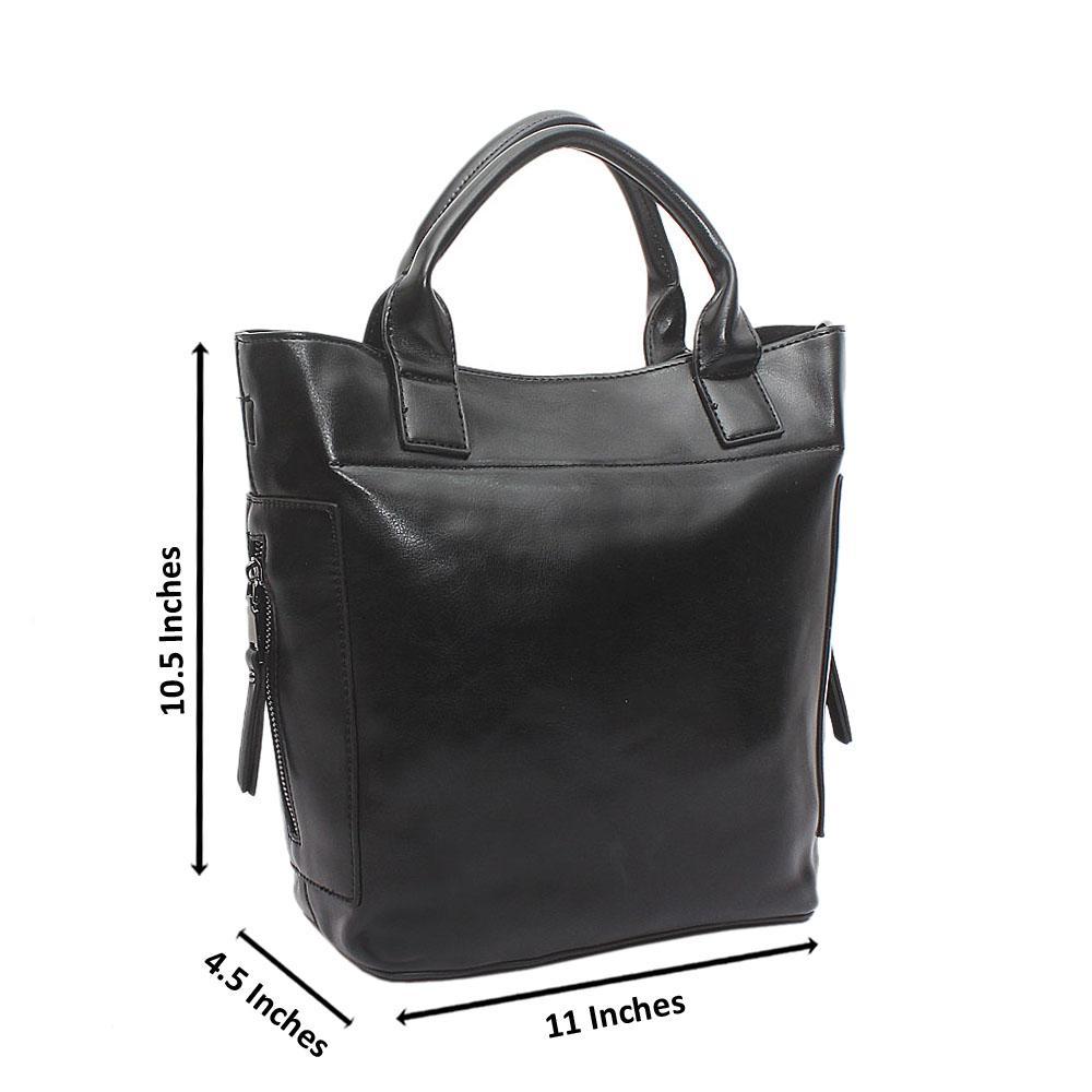 Black Leather Medium Rachel Bag