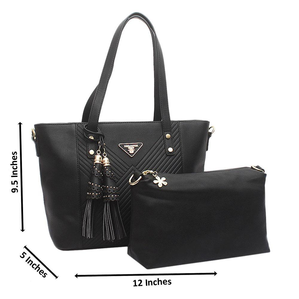 Black Medium Milanzi Leather Handbag